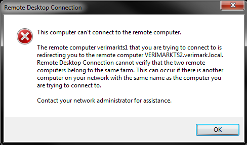 Remote desktop connection cannot verify that the two remote ...