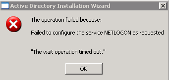 Error when trying to promote DC \u2013 Failed to configure the service